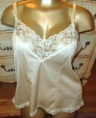 Vintage Soft & Silky Nylon Camisole Ivory  Lace Trans Diva Cross Dress L Large
