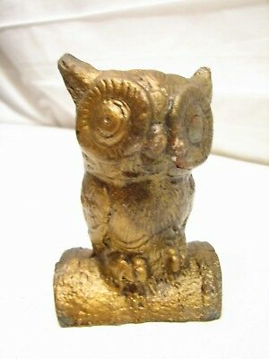 Early Cast Iron Coin Bank Wise Old Owl Figural Bird Dime Still Penny