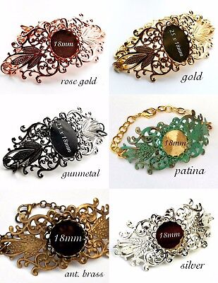Filigree Bracelet Bangle Blanks Settings Gold Silver Brass Rose Gunmetal Patina