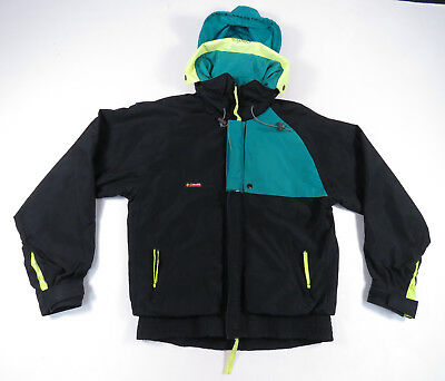Vintage 90S Columbia Criterion Black Neon Yellow Hooded Shell Jacket Mens M