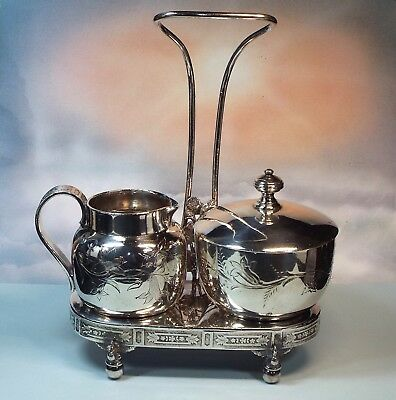 Antique Wilcox Silver Plate Cream & Sugar Set w/ Stand or Holder Etched Floral
