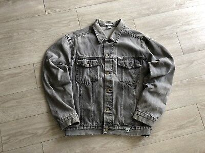 Vtg Guess Denim jacket Georges Maricano Black Acid Wash Sz Large USA Made Lg L