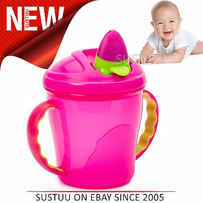 Feeding Bn Vital Baby Free Flow Cup With Soft Flip Spout Pink Weaning Cups