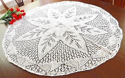 "White Lace Table Doily Table Topper Vintage Leaf 34"" wide HM Knitted Round"