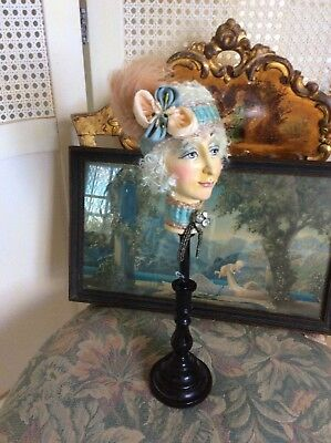Vint. French Flapper Boudoir Doll Wood Hat Stand, Composition Head, Silk