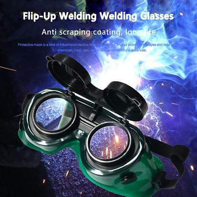 Welding Cutting Welders Safety Goggles Glasses Flip Up Dark Green Double-Lens
