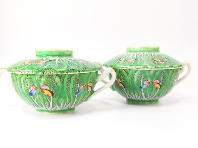 Pair 19th Century Chinese Cabbage Leaf Butterfly Famille Verte Porcelain Cup