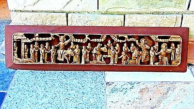 Antique Chinese Rosewood Carved Gilt Pierced Relief Temple Panel Court Scene