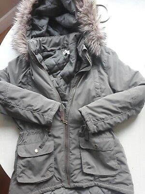 f73fa2d2dc0 Girl s Khaki Parka Quilted Hooded Fur Trim Jacket Coat H M ...