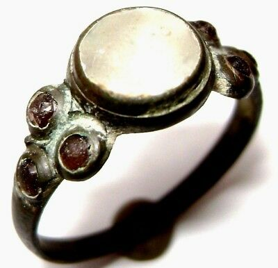 Ancient medieval BRONZE RING with seven stones (gem, glass )