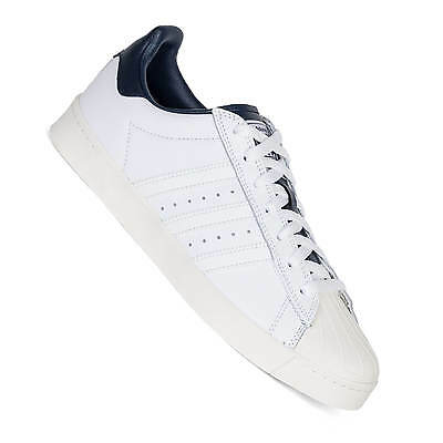 newest collection dfffc a2ced Adidas Superstar Vulc Adv Bianco Blu Marino Skateboarding Scarpe Uomo B27392