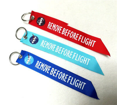 NASA Space Shuttle Remove Before Flight Fabric Keychain Key Ring Luggage Tag