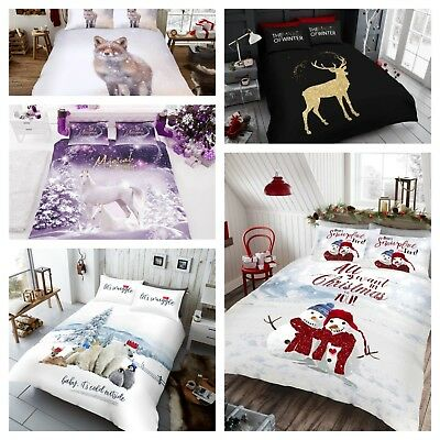 New Christmas Bedding Set Duvet Quilt Cover With Pillow Case Single Double King