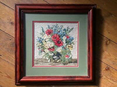 Vintage Wooden Framed Needlepoint Wall Tapestry Picture