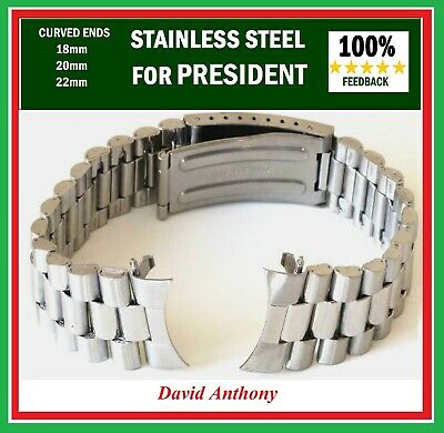 CHOOSE 18mm 20mm 22mm PRESIDENT LINK WATCH BRACELET. CURVED ENDS.GOOD QUALITY