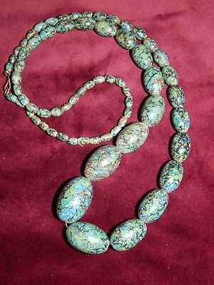 """Vintage Art Deco Hand-Painted Marbled Wooden Opera Length Necklace ~ 33"""" ~ Rare"""