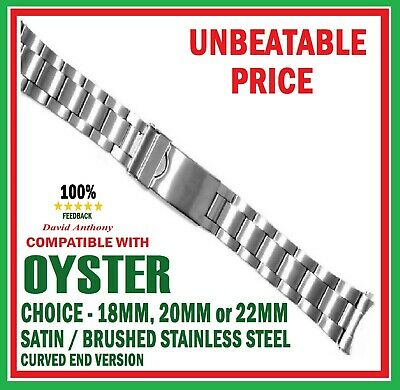 CHOOSE 18mm 20mm 22mm OYSTER STYLE LINK WATCH BRACELET CURVED ENDS. GOOD QUALITY