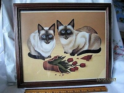 Siamese Cats Framed Print - 11 X 14 - EXC.