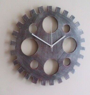 Wood Cog Steampunk Style Industrial Vintage 40cm Large Wall Clock White Hands