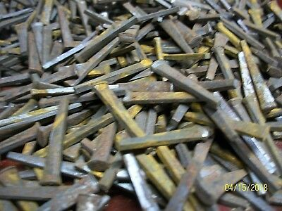 "101  Orig. Antique, 1 1/4"" Long Square, Cut Steel Nails, Barn Find !"