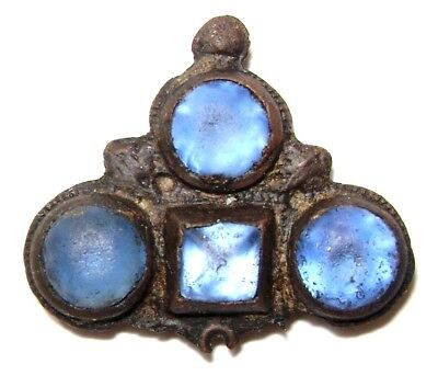 Ancient RARE Late Medieval Bronze Pendant in form of Cross with 4 blue stones.