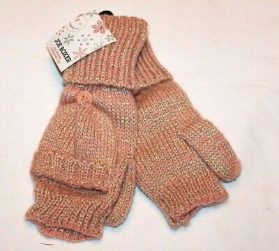 Joe Boxer Women's Pink/Silver Fingerless Gloves/Mittens One Size Fits Most