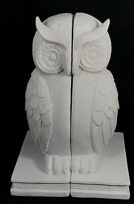 """2 Piece White Owl Bookends 8.5"""" tall Nature"""
