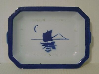 Vintage Klafrestrom Enamel Cast Iron Blue White Baking Dish With Sailboat Sweden