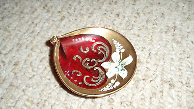 Vintage Italian Murano Red Glass Hand Painted Gold Floral Dish 3 1/2 X 4 inches