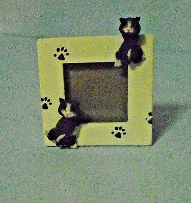 Small White Picture Photo Frame With Two Black Cats -  2 x 2 Photo