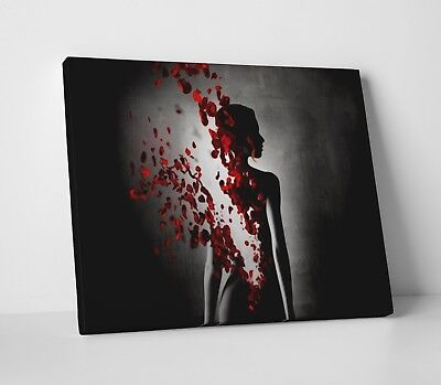 Black White & Red Rose Woman Sexy Modern Home Canvas Wall Art Picture Print