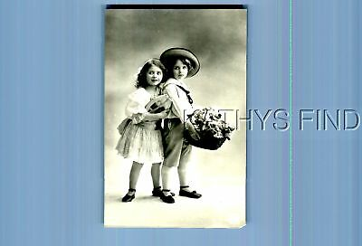 B&w Postcard M+2912 Girl In Hat By Other In Dress,basket Of Flowers