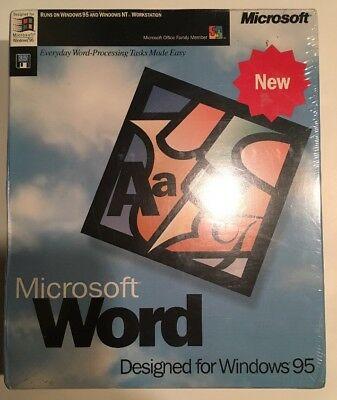 """Microsoft Word For Windows 95. or Windows NT Workstation 3.5"""" Media Factory Seal"""