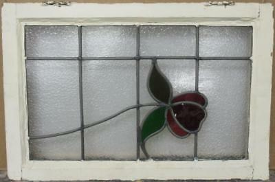 """MID SIZED OLD ENGLISH LEADED STAINED GLASS WINDOW Pretty Floral 23.75"""" x 16"""""""