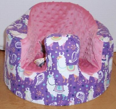 New Bumbo Floor Seat COVER • Purple Llama w/Pink Seat • Safety Strap Ready