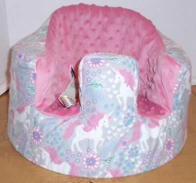 New Bumbo Floor Seat COVER • Prancing Unicorn w/Pink Seat • Safety Strap Ready