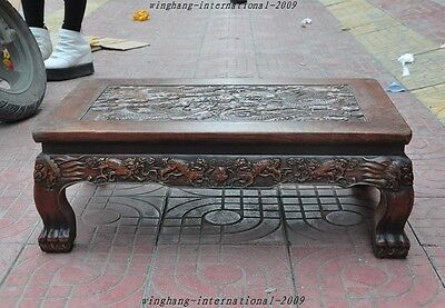 Old Chinese Huanghuali Wood Hand-Carved Dragon Kirin coffee table Writing desk A