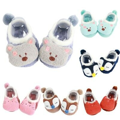 US 0-5Y Toddler Baby Kid Boots Slipper Socks Cartoon Winter Warm Anti-slip Shoes