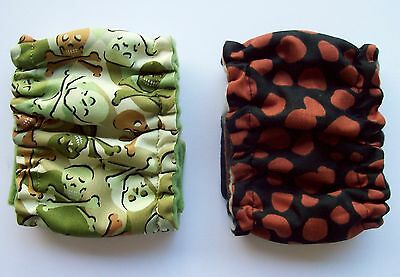 2 pk Dog Diapers SMALL NARROW Male Owl Stripes Belly Band Elastic Wrap 10 12 in
