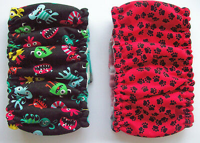2 pk Male LARGE Monsters & Paw Print Dog Diaper Belly Band Elastic Wrap Reusable