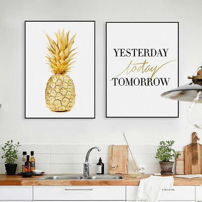 Gold Pineapple Quotes Poster Print A4 Nordic Home Decor Wall Art Canvas Painting