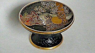 Antique Japanese Porcelain Hand Painted With Gilt Accent Samurai Pedestal Dish