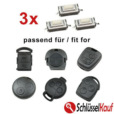 3x Microbuttons Micro SMD Push Button Car Key Mercedes Nissan Vauxhall Peugeot