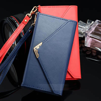 For iPhone XR XS Max 8 7 6s Plus Envelope Leather Wallet Card Holder Case Cover
