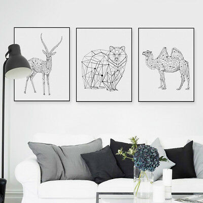 Black White Abstract Animals Posters Nordic Home Decor Wall Art Canvas Painting