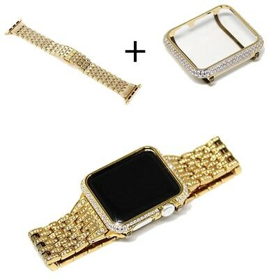 Luxury Watch Band With Crystal Rhinestone Diamond Cover For Apple Watch 1 2 3 4