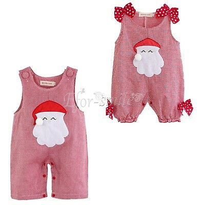 Infant Baby Girls Boy Clothes Christmas Romper Outfit Santa Clause Costume 0-18M