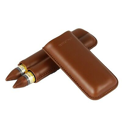CIGARISM Brown Genuine Leather Cigar Travel Holder Case Gift Box