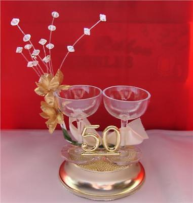 50th Golden Wedding Anniversary Cake Topper Decoration Champagne Glasses Design