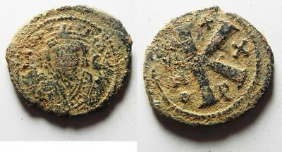 ZURQIEH -as8173- BYZANTINE EMPIRE. MAURICE TIBERIUS BRONZE HALF FOLLIS